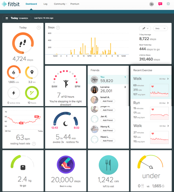 track fitness and health data on fitbit app